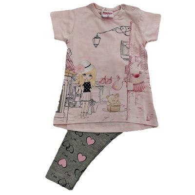 Μπλουζοφόρεμα ροζ με μακρύ κολάν γρκι με καρδούλες New College