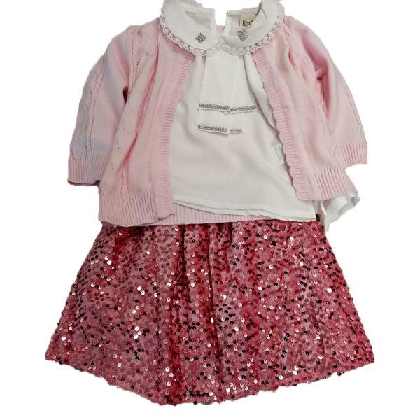 Σετ 3 τεμάχια με πουκαμίσα,ζακετάκι και φούστα με στρας