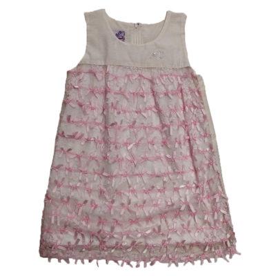 Φόρεμα ιβουάρ με φιογκάκια New College