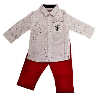 Σετ λευκό πουκάμισο κόκκινο παντελόνι New College