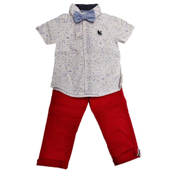 Σετ κοντομάνικο πουκάμισο κόκκινο παντελόνι New College
