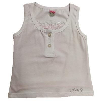 Λευκή - Ροζ αμάνικη μπλούζα
