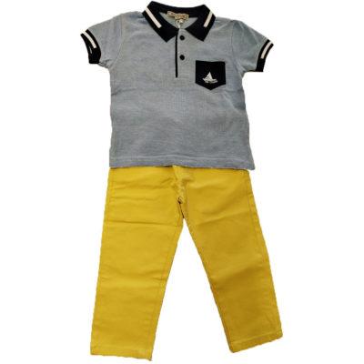 Σετ πόλο με κίτρινο παντελόνι New College
