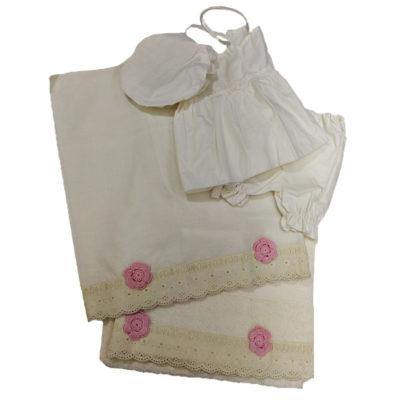 Λαδόπανα ιβουάρ ροζ λουλούδι Makis Tselios