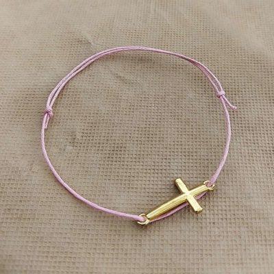 Μαρτυρικό με ροζ κορδόνι και σταυρό