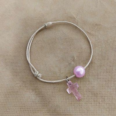Μαρτυρικό με ροζ σταυρό και ροζ πέρλα
