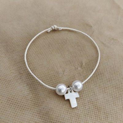 Μαρτυρικό με λευκό σταυρό & λευκές πέρλες