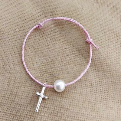 Μαρτυρικό με σταυρό και λευκή πέρλα