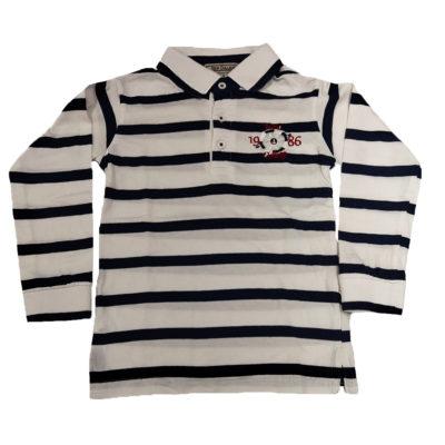 Μπλούζα με γιακά λευκό-μπλε New College