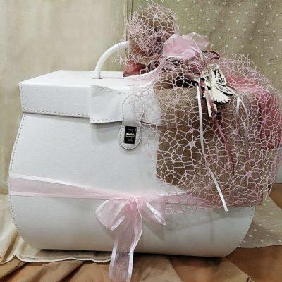 Βαλίτσα - Τσάντα λευκή με φίογκο