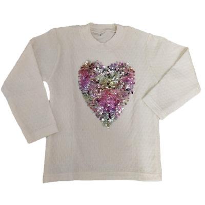 Μπλούζα λευκή με καρδιά