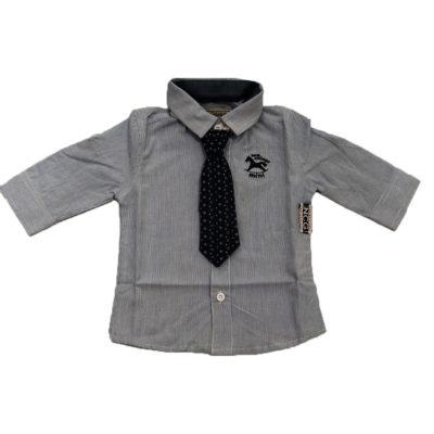 Πουκάμισο ριγέ γαλάζιο με γραβάτα New College