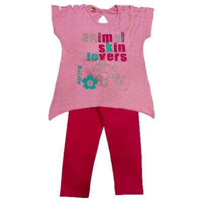 Μπλουζοφόρεμα με σκισίματα ροζ της εταιρείας spring