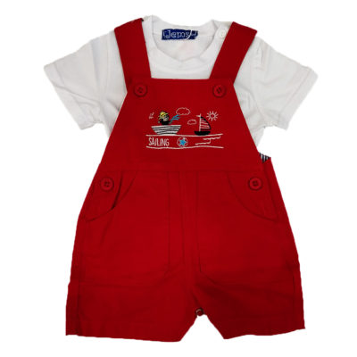 Κόκκινη σαλοπέτα με λευκό μπλουζάκι