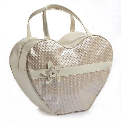Βαλίτσα μαλακή σε σχήμα καρδιάς με λουλούδι Nuova Vita