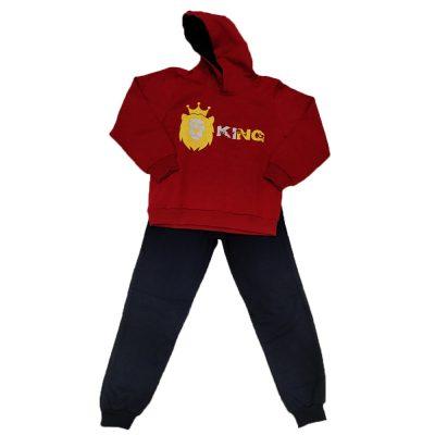 Φόρμα king κόκκινη με κουκούλα