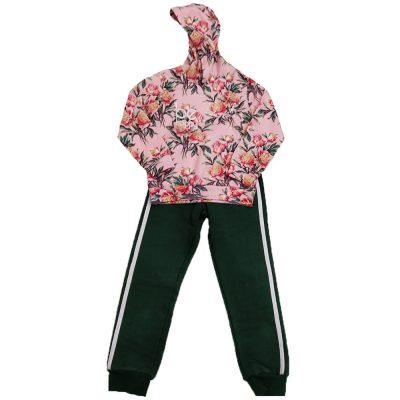 Φόρμα με κουκούλα ροζ πράσινο New College