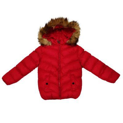 Μπουφάν κόκκινο με γούνινη κουκούλα