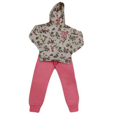 Φόρμα γκρι-ροζ κουκούλα New College