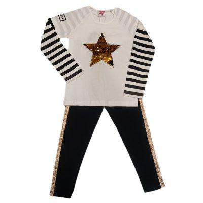 Μπλουζοφόρεμα αστέρι με ριγέ μανίκια