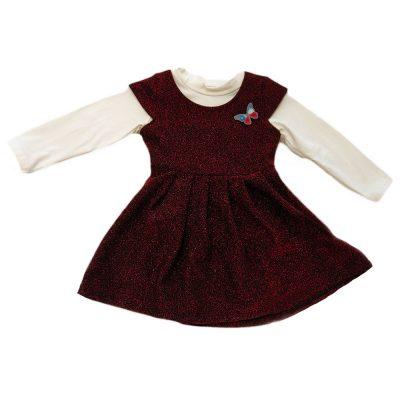 Φόρεμα μπορντό αστραφτερό με μπλουζάκι