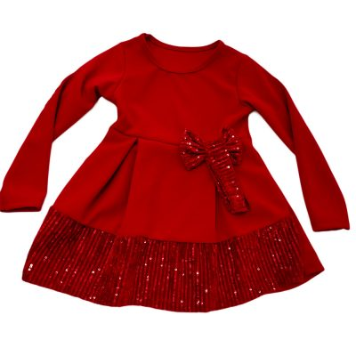 Φόρεμα κόκκινο με στρας στο κάτω μέρος