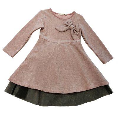 Φόρεμα ροζ αστραφτερό με φιόγκο