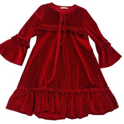 Φόρεμα βελουτέ κόκκινο αστραφτερό