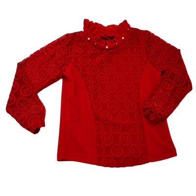 Μπλούζα Κόκκινη με δαντελωτά μανίκια