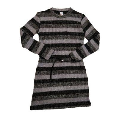 Φόρεμα γκρι-ριγέ πλεκτό με ζωνάκι New College