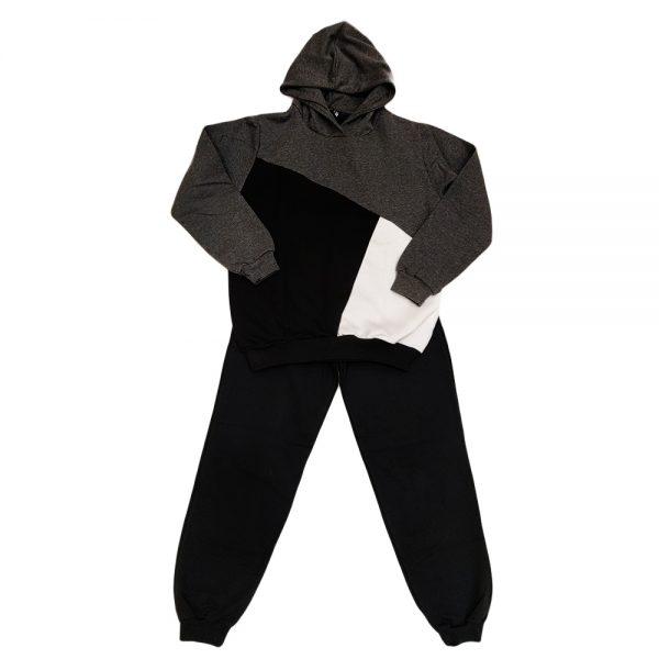 Φόρμα τρίχρωμη κουκούλα γκρι σκούρο-μαύρο-λευκό