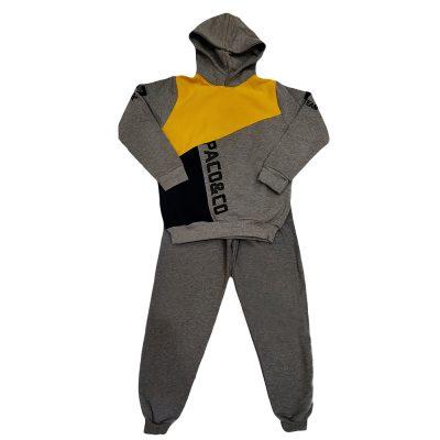 Φόρμα τρίχρωμη κουκούλα κίτρινο-γκρι σκούρο-μαύρο