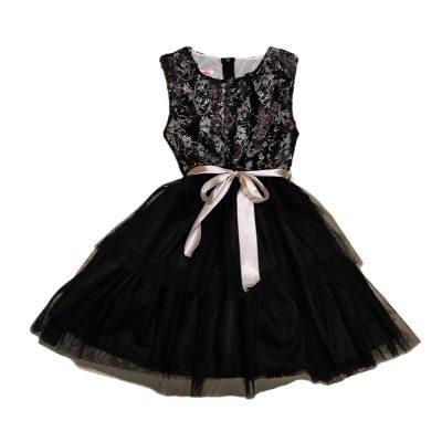 Φόρεμα μαύρο με σατέν ζωνάκι