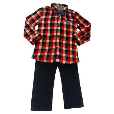Σετ πουκάμισο κόκκινο καρό με κοτλέ παντελόνι