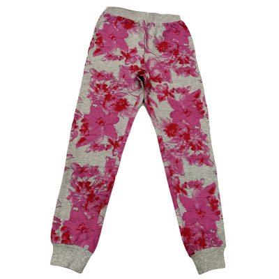 Παντελόνι φόρμας γκρι με λουλούδια λεπτό φθινοπωρινό