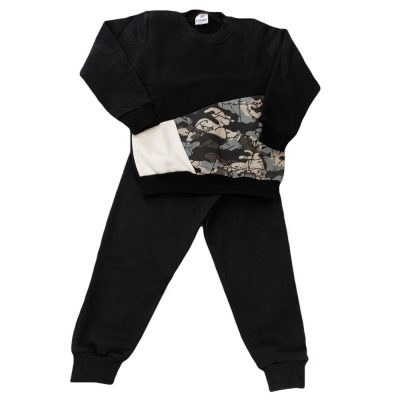Φόρμα μαύρη τρίχρωμη με στρατιωτικό