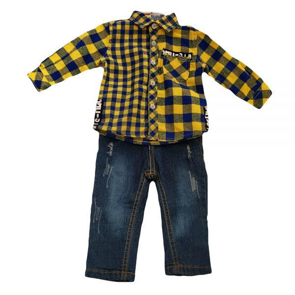 Σετ τζιν με κίτρινο καρό πουκάμισο(χειμερινό)