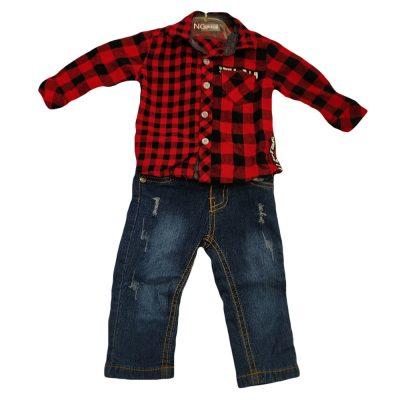 Σετ τζιν με κόκκινο καρό πουκάμισο(χειμερινό)