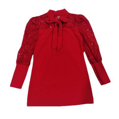 Φόρεμα κόκκινο με δαντελωτά μανίκια