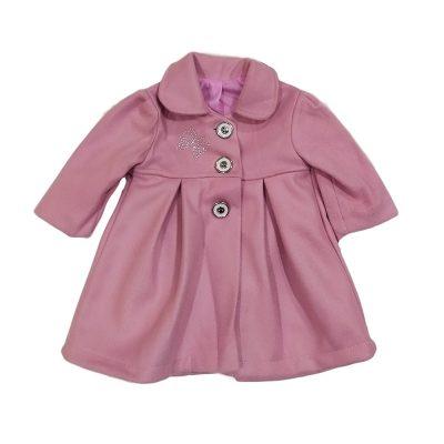 Παλτό ροζ με φιόγκο στρας