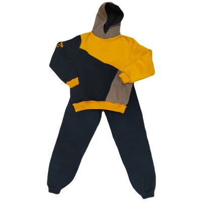 Φόρμα τρίχρωμη κίτρινη με κουκούλα