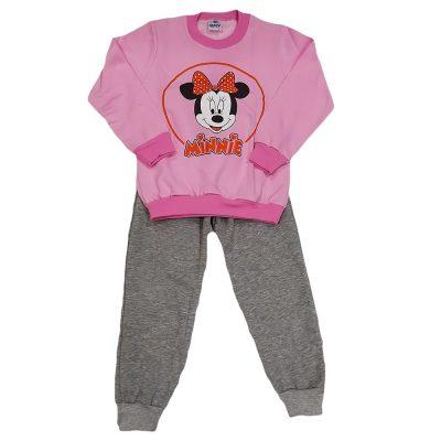 Φόρμα μίνι ροζ-γκρι παντελόνι