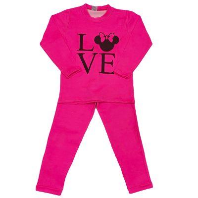 Μπλουζοφόρεμα μίνι love ροζ έντονο σετ