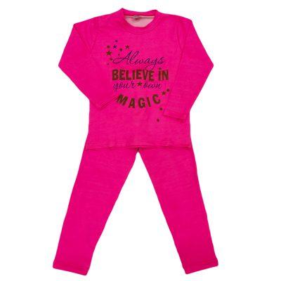 Μπλουζοφόρεμα believe in magic ροζ έντονο σετ