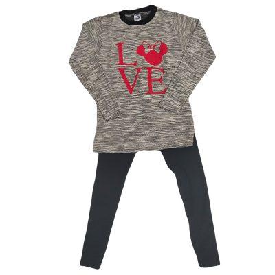 Μπλουζοφόρεμα μίνι love γκρι-ασημί μαύρο κολάν
