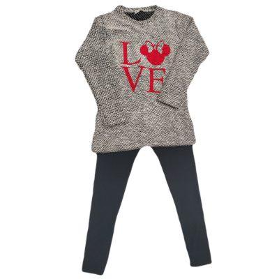 Μπλουζοφόρεμα μίνι love γκρι/ασημί με μαύρο