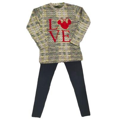 Μπλουζοφόρεμα μίνι love καρό/μαύρο