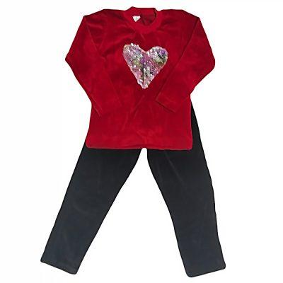 Φόρμα βελουτέ με καρδιά κόκκινο/μαύρο