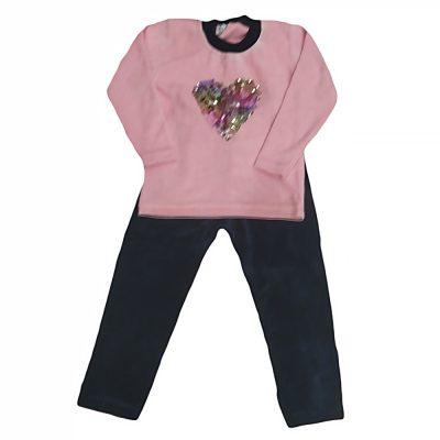 Φόρμα βελουτέ με καρδιά ροζ απαλό/μπλε