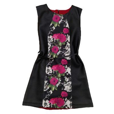 Φόρεμα δερματίνη με τριαντάφυλλα